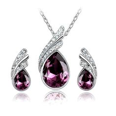 Silver Plated Grape Purple Crystal Teardrop Necklacen Earrings Set