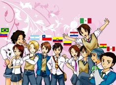 Hetalia ~~~ The Latino countries ::: Is that Peru with the llama? Yolo, Argentina Country, Hetalia Characters, Fictional Characters, Latin Hetalia, Bad Touch Trio, Kevedd, Hetalia Funny, Mundo Comic