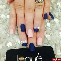 Matte navy blue and baby pink nail design