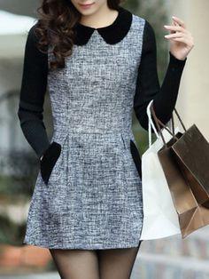 Stylish Peter Pan Collar Long Sleeves Color Splicing Dress For WomenLong Sleeve Dresses | RoseGal.com