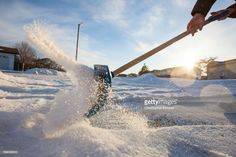 Stock Photo : Shoveling snow in northern Alberta.
