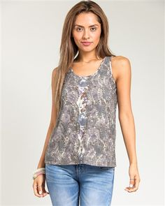 Gray Floral Lace over Tank