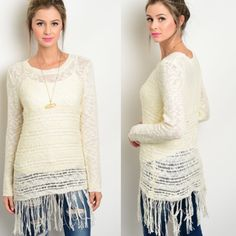 Bohemian Fringe Top Sizes: S M L. comment with size to purchase.   This knit top features fringe trim along sleeves and hem, sheer material and a round neckline. Tank not included. Tops