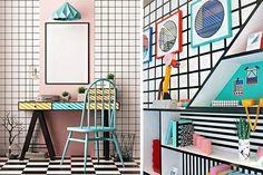 A medio camino entre la Bauhaus y el art-decò, este estilo destaca por sus propuestas coloristas, desenfadadas, con un sinfin de formas que se convierten en propuestas revolucionarias. Algo así como un estilo pop renovado.  Pero como este movimiento es fundamentalmente visual, qué mejor que contaros sus características a través de imágenes. ¡Comenzamos! Memphis, Art Deco, Visual Communication, Bauhaus, Fun, Color Games, Combination Colors, Colour Pop, Primary Colors