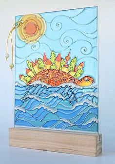 art inside — Hand painted glass card — Old World