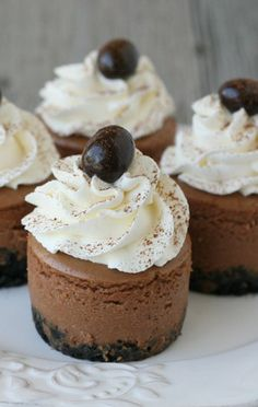 Mini Kahlua Cheesecakes. Kahlua is yummy. You could make a drink and bake! Lol