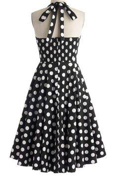 Black Polka Dot Print Halter Neck Swing Dress