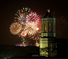 Fireworks after the week long fiesta de St Narcis, the Patron Saint of Girona. The Cathedral tower in the foreground. #caldomino #catalunya #girona #fireworks