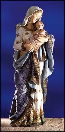 Ornate Hand painted Loving Madonna and child Church statue The Ave Maria Collection celebrates Mary, Mother of Jesus, who has inspired artisans, crusaders, saints and mothers worldwide. With Jesus Chr