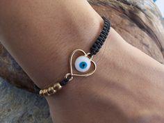 Dainty heart bracelet - evil eye heart, evil eye bracelet, love gift!!
