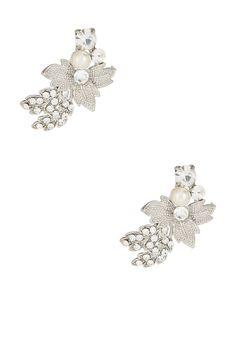 Pearl & Crystal Leaf Cluster Stud Earrings ==