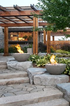 Fire pits are the perfect light source for your outdoor stairs.