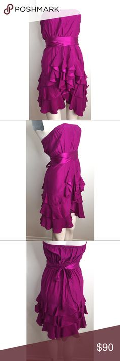 🎬 Rebecca Taylor Fuchsia Ruffled Dress Gorgeous Ruffled dress by Rebecca Taylor. Was used in the TV show Liv & Maddie. Made of silk. Built in Bra inside of dress. Has a stain on the waist area but isn't noticeable unless you take the ties off that go around the waist. There's discoloration near the ruffles which is a little below the stain that's in the waist. The discoloration is hard to see because the fabric is a little reflective/shiny. Small snag near armpit. No COA, can provide…