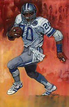 Barry Sanders, Detroit Lions by Ron Mahoney.