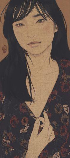 "Ikenaga Yasunari ""Reveal, drunk on bubbles, Honami"" 2017 Art Occidental, Art Chinois, Tinta China, Art Japonais, Japanese Prints, Japan Art, Woodblock Print, Chinese Art, Female Art"