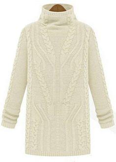 OL Style Long Sleeve Turtleneck Autumn Sweaters Beige - USD $24.77