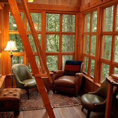 The Trillium - Tree house Interior Lower by TreeHouse Point Tiny House, Tree House Interior, Interior Windows, Home Design, Interior Design, Interior Ideas, Cool Tree Houses, Little Houses, My Dream Home