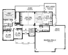 Ranch House Plan First Floor   This Has A Couple Good Ideas   Access From  Garage Storage To The Back Of The House As Well As The Front.