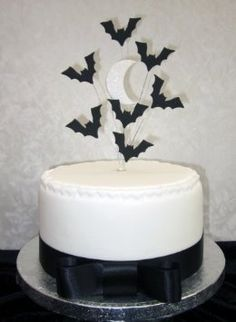 halloween bats and moon cake topper suitable for a small cake or cupcake amazon