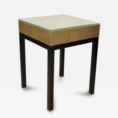 Pair of Square Ebonized Wood and Brass Side Tables