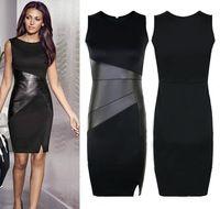 HOT Black Women PU Patchwork Bodycon dress High Waist Party Pencil Dress Casual Sheath dress with side split plus size S-2XL