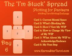 Day 6 of the 30 Day Tarot Writing Challenge: I'm Stuck – Karma Star Tarot How to get yourself unstuck when Writer's Block Hits Writing Challenge, Writing Tips, Wiccan Spell Book, Star Tarot, Tarot Card Spreads, Tarot Astrology, Daily Tarot, Tarot Learning, Tarot Card Meanings