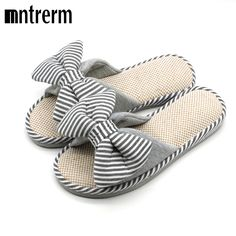 f35394efb Mntrerm Hot Sale Spring And Autumn Bow House Slippers Women s Indoor Shoes  Fashion Flax Home Slippers Lucy Refers To At Home-in Slippers from Shoes on  ...