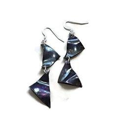 purple triangle copper earrings by LunaLocoJewellery on Etsy