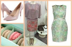 Fitted pastel dresses for a crazy garden party and a classic pumps. Have a nice evening! #pastel #dress #coctail