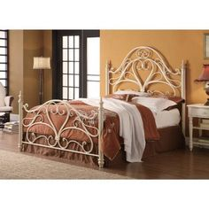 Coaster Furniture - Iron Beds and Headboards Queen Ornate Metal Headboard & Footboard Bed with Egg Shell Finish - White Metal Headboard, Metal Bed Frame Queen, Wrought Iron Headboard, Queen Size Headboard, Bed Frame And Headboard, Metal Beds, Headboards For Beds, Metal Headboards, Bed Frames