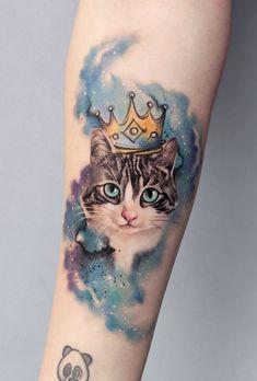Badass Tattoos, Great Tattoos, Mini Tattoos, Beautiful Tattoos, Flower Tattoos, Body Art Tattoos, Small Tattoos, Tattoo Gato, Big Cat Tattoo