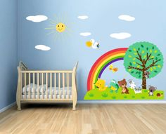 Rainbow And Sun Full Color Wall Decal Kit  by Walls2LifeDecals