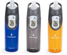 The Sportline Hydracoach-Intelligent Water Bottle($30) a interactive water bottle, it lets users program their own personal hydration needs into the integrated computer and track their daily water consumption sip by sip. It features calculates your personal hydration needs; Tracks your fluid consumption through the day; Paces you to ensure hydration goals are met; Motivates you to stay properly hydrated; Enhanced strength and endurance.