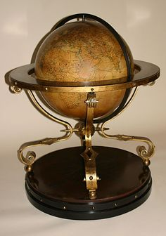 French Globe Of Large Dimensions On Ebonized And Gilded Metal Stand    c. Late 19th/Early 20th Century