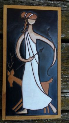 """Helen Michaelides Ceramic Wood Tile Art Lady Archer Deer Signed """"E. Mixandidous""""  Wow! The goddess Diana!!"""