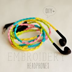 DIY: Embroidery Headphones to stop them from tangling!