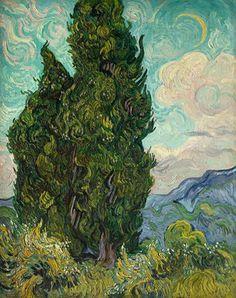Art of the Day: Van Gogh, Cypresses, June 1889. Oil on canvas, 93.4 x 74 cm. The Metropolitan Museum of Art, New York.