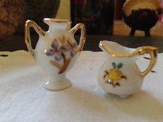 mini floral porcelain handled vase & miniature footed pitcher water jug with gold details July 4th miniature doll house collector home decor by HoarderRehab on Etsy https://www.etsy.com/listing/110888261/mini-floral-porcelain-handled-vase