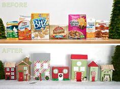 déco pour Noël originale DIY - une petite ville composée de mini maisons en carton
