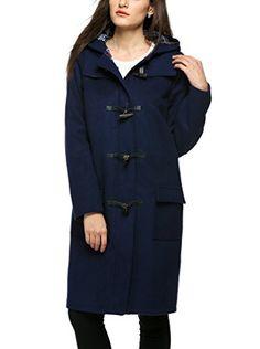 8eccbe6912f39 Finejo manteau veste caban trench duffle long slim laine à capuche - taille  34-40 pour femme -2015 mode hiver