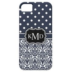 Trio Monogrammed Navy Damask iPhone 5 Cover Case.  Flourish filigree damask pattern and polka dot print in white and navy blue with custom trio of initials for your first, last, and middle name. Cute elegant trendy girly three monogram design. Cool gift for girls that want a personalized gift that features their 3 initial letters.
