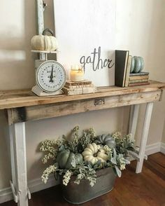 Entry table decor entry hall table decor ideas present wonderful decorating opportunities that be ignored see Entrance Table Decor, Decoration Hall, Entryway Decor, Table Decorations, Wall Decor, Entrance Halls, Fall Entryway, Decor Room, Bedroom Decor