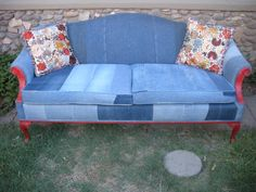 recycled denim covered couch from Etsy and she has a chair to match.