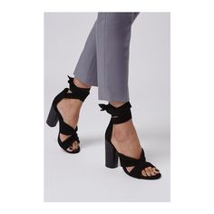 TopShop Rosa Suede Knot High Sandals (135 AUD) ❤ liked on Polyvore featuring shoes, sandals, black, thick heel sandals, black suede sandals, heeled sandals, chunky heel sandals and black shoes