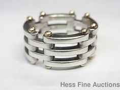 Genuine 18k Gold Sterling Silver Tiffany Co Chain Link Ladies Ring #TiffanyCo #Band