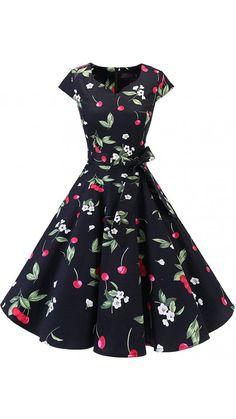 Women's Vintage Tea Dress Prom Swing Cocktail Party Dress with Cap-Sleeves. Vintage Tea Dress, Vintage Dresses, Vintage Prom, Retro Vintage, Evening Dresses, Prom Dresses, Dress Prom, Bridesmaid Dress, Bcbg