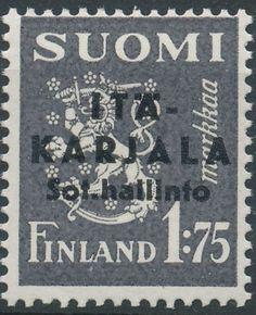 """East Karelia 1941 black overprint on 1,75mk grey p:14 [Mi FI-EK 2II] """"Pointed second A in Karjala"""""""