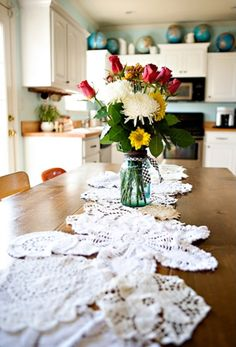 DIY table runners that steal the show when it comes to home decor..: Doily Table Runner
