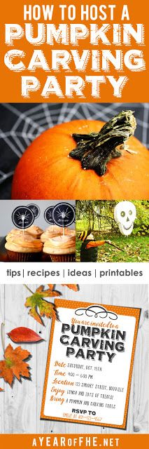 HOW TO HOST A PUMPKIN CARVING PARTY // Tips for parties for ADULTS, TEENS, and KIDS, recipes, games and a free printable invite! This is such an easy and fun tradition to start! #halloween #party #jackolantern