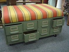 repurpose file cabinet | repurpose old file cabinets...this would be a fun bench to ... | Idea ...